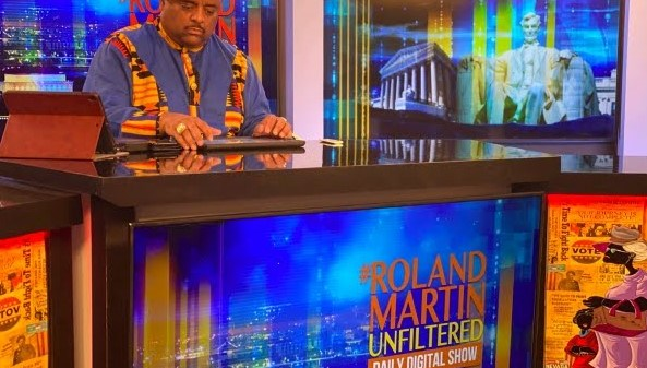 Martin on the set of Roland Martin Unfiltered