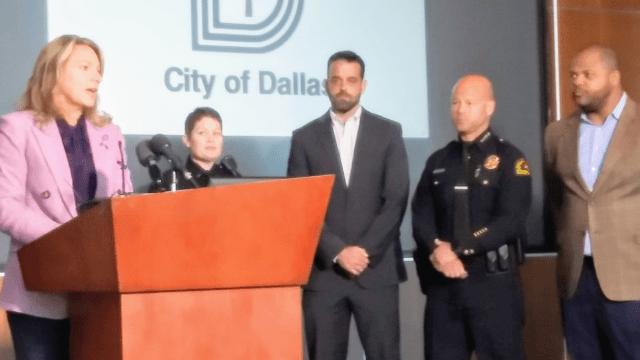 Dallas City Councilwoman Jennifer Gates, Officer Kylle Hawks, City Councilman Adam McGough, Chief Eddie Garcia and Mayor Eric Johnson