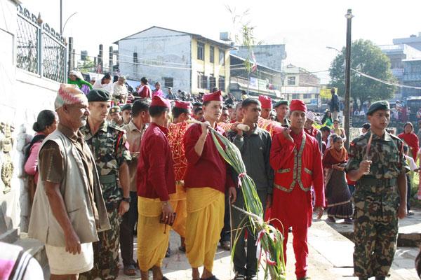 A Fulpati procession from Gorkha Durbar being brought to Dashain Ghar in Hanumandhoka at Basantapur Durbar Square.