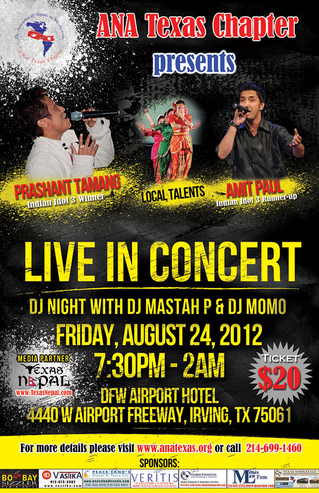 ANA Texas Chapter organizing Live Concert featuring Prashant Tamang