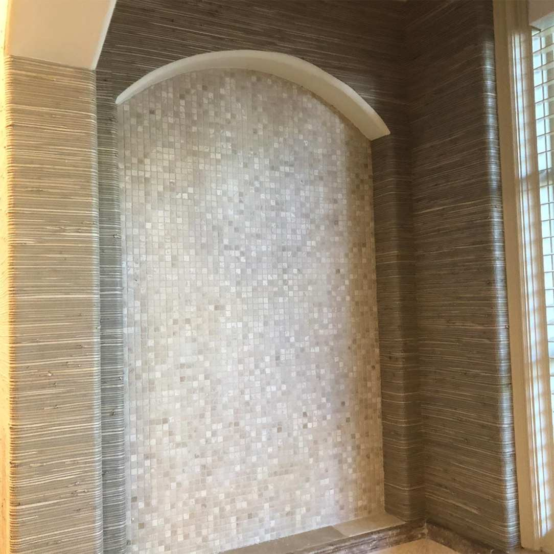 Grasscloth and Tile Bathroom Wall Coverings
