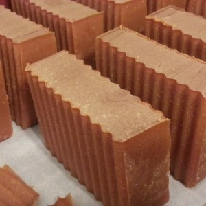 Freshly cut Raspberry and Chocolate soap
