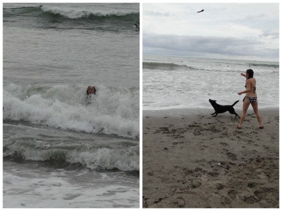 Manda being pummeled by the waves at Playa Samara and playing fetch with a dog on the beach.