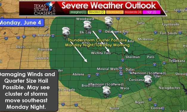 Scattered Afternoon Storms Tomorrow; Monday Night Squall Line Possible