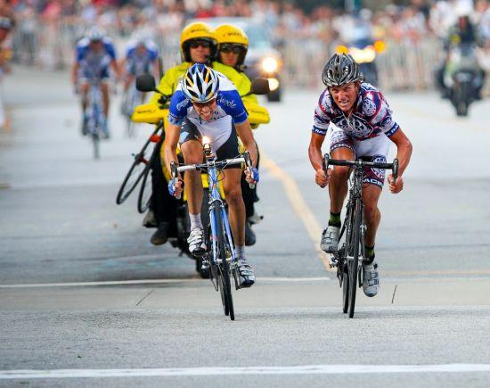 Rock Racing's Tyler Hamilton sprints past Garmin-Chipotle's Blake Caldwell