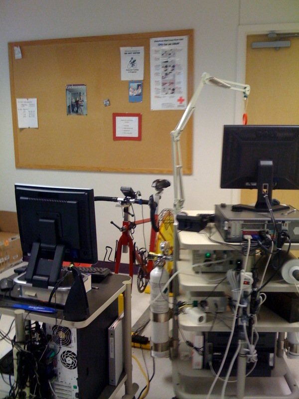 Velotron bike and testing equipment