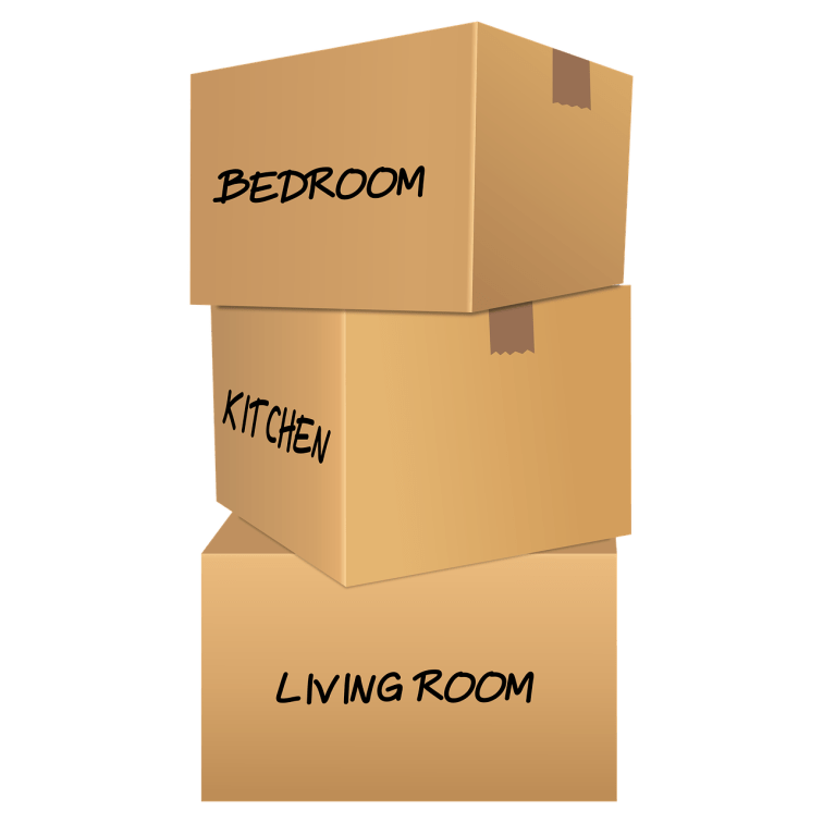 Three brown packing boxes stacked on top of each other labeled from top to bottom: bedroom, kitchen, living room.