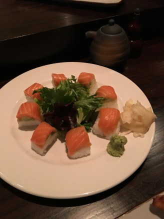 pressed salmon sushi