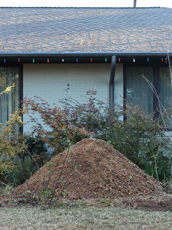 Brown mulch in front of house