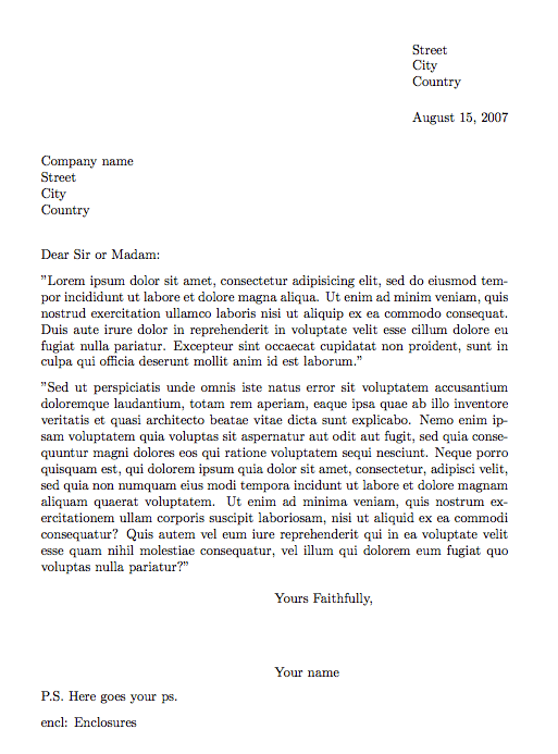 what does enclosure mean on a cover letter - writing a letter in latex texblog
