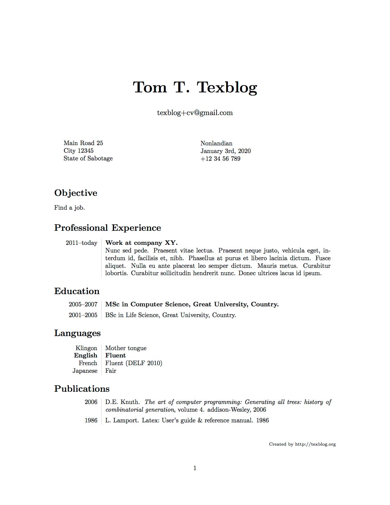 Writing A Cv In Latex Texblog
