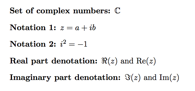 Complex number symbols in LaTeX – texblog