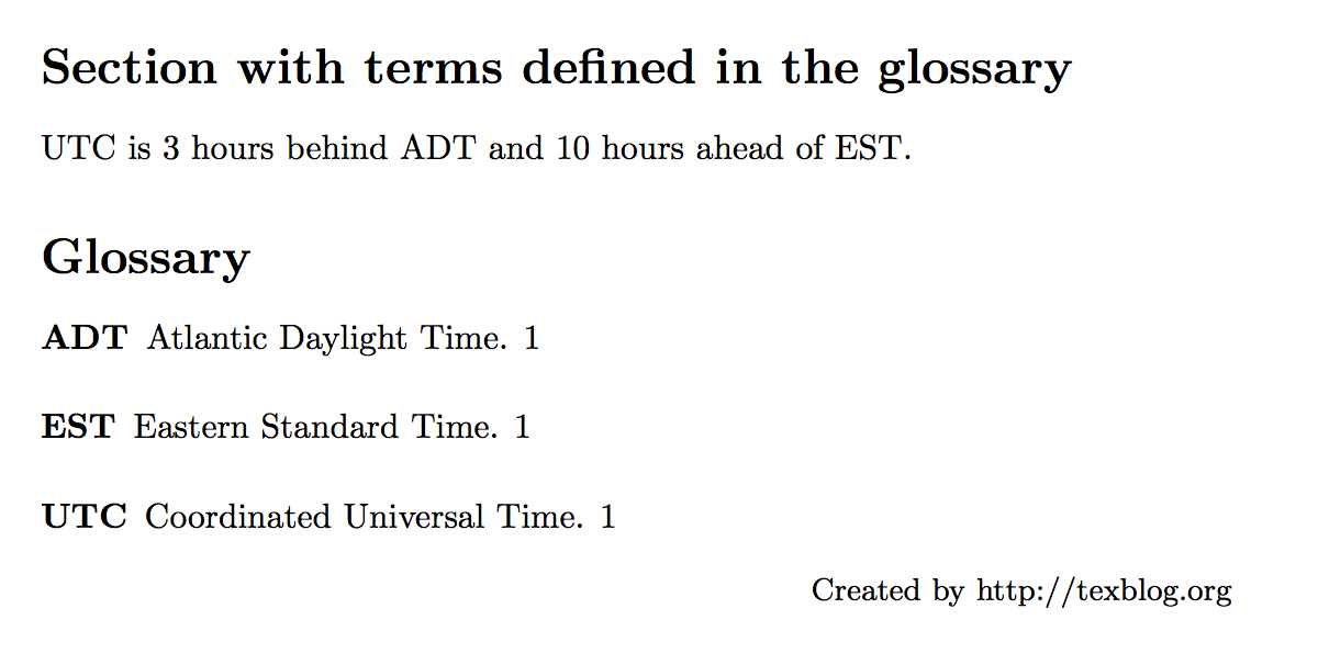 Latex Glossary And List Of Acronyms Texblog