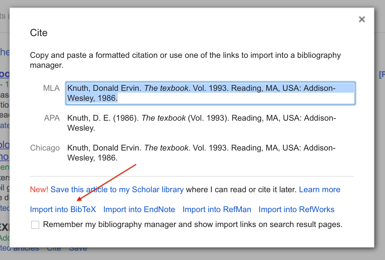 Using google scholar to download bibtex citations texblog googlescholarcitationformats yelopaper Choice Image