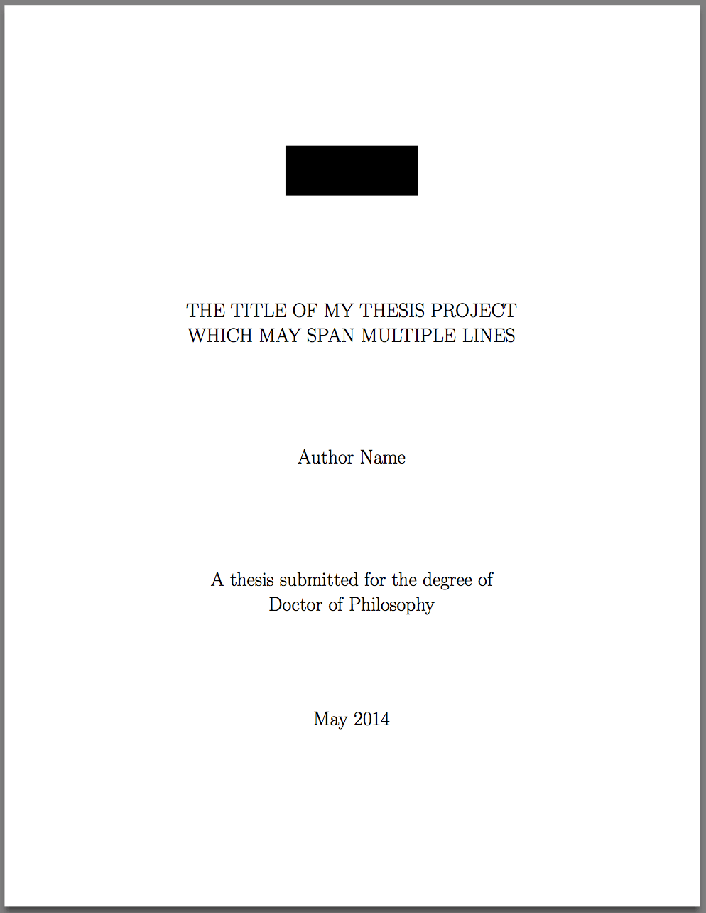Template For LaTeX PhD Thesis Title Page – Texblog