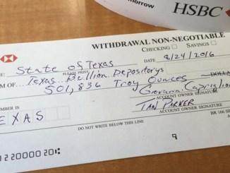 Texas gold bank withdrawal slip.