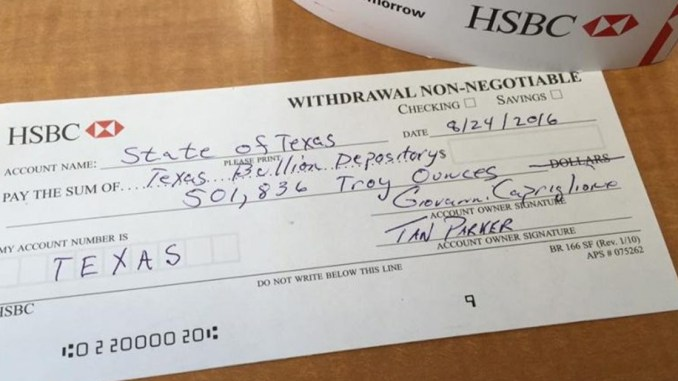 Texas gold bank withdrawal slip.