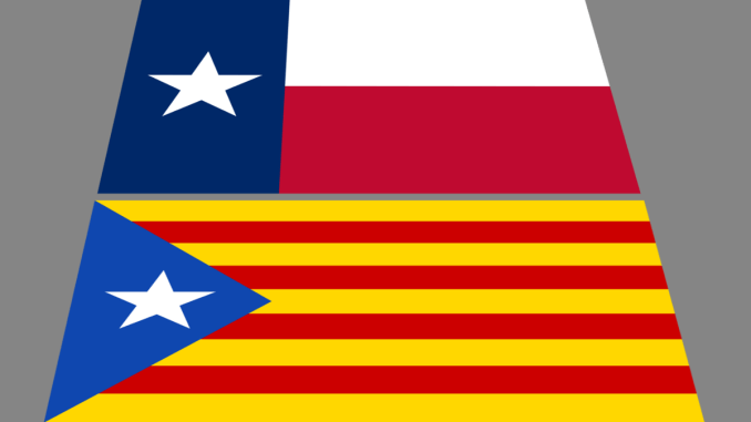 The Texas Flag and The Blue Star, the flag of Catalonia Independence, by Guillermo Romero. No endorsement.