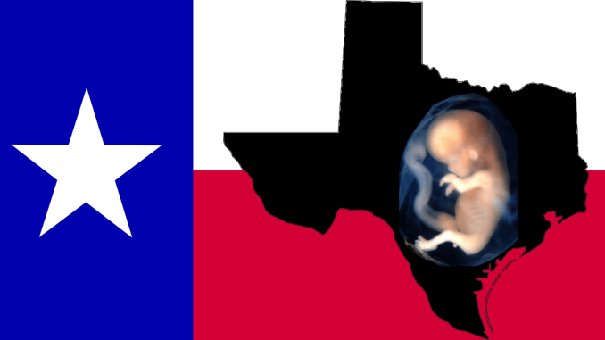 Texas flag, map and unborn Texan