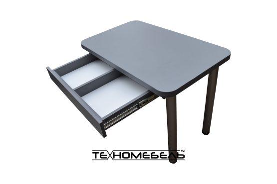 Кухонный стол с выдвижным ящиком серого цвета ТЕХНОмебель L=1200 мм