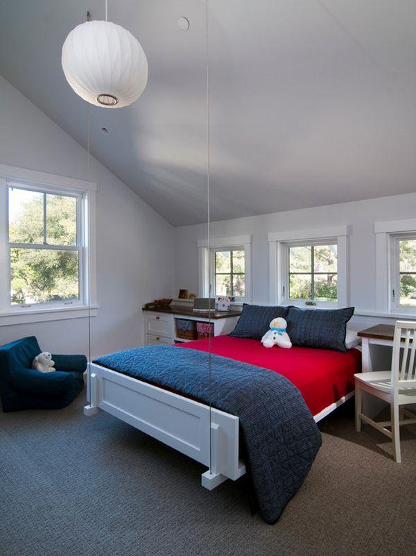 Warm Kids Bedroom Floating Bed White Lampion Atherton Residence