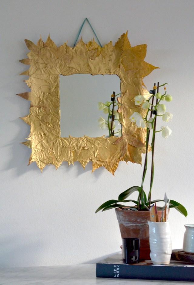 DIY Καθρέφτης με Χρυσά φύλλα1
