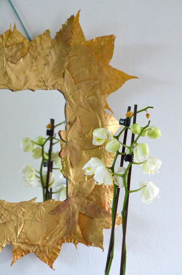 DIY Καθρέφτης με Χρυσά φύλλα5