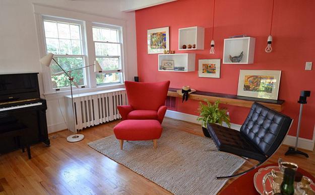 ιδέες και σχέδια για Καθιστικού με κόκκινο χρώμα11