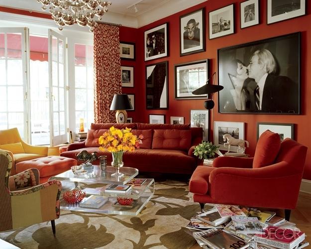ιδέες και σχέδια για Καθιστικού με κόκκινο χρώμα14