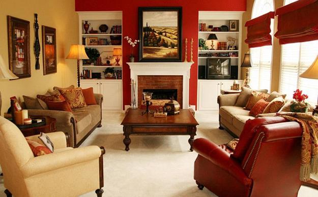 ιδέες και σχέδια για Καθιστικού με κόκκινο χρώμα15