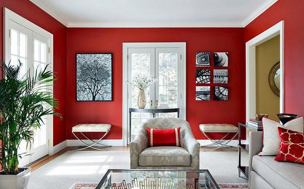 ιδέες και σχέδια για Καθιστικού με κόκκινο χρώμα6