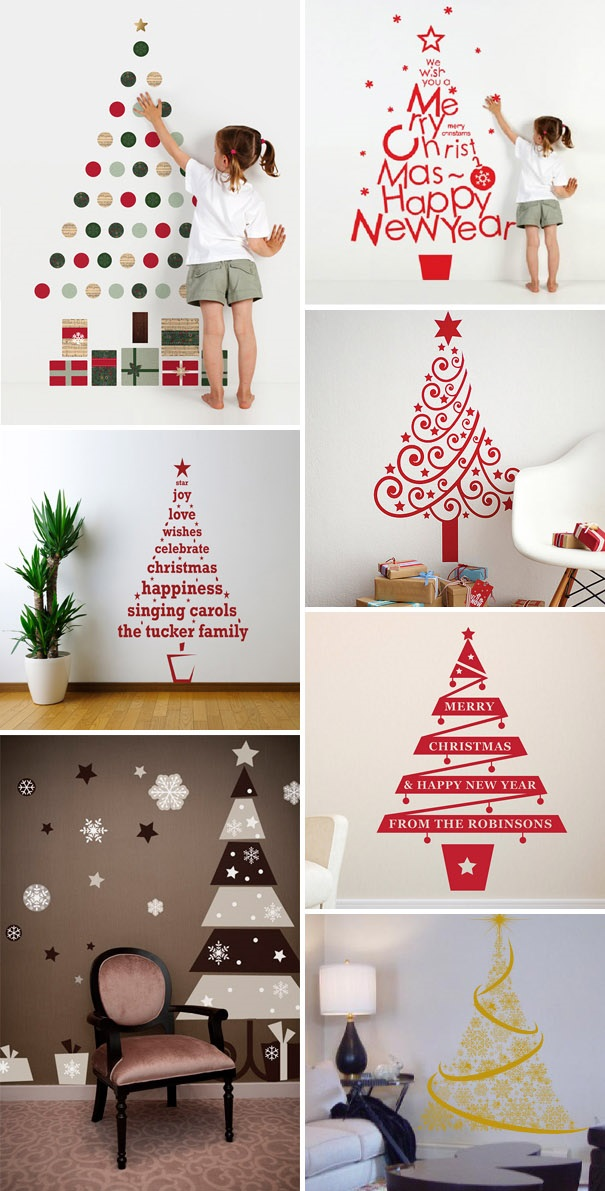ιδέες με Χριστουγεννιάτικα Δέντρα στον τοίχο18
