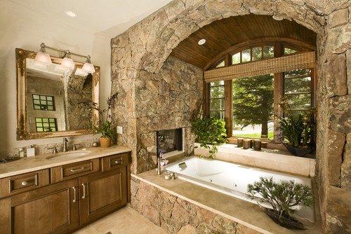 Ζεστά Σχέδια Μπάνιου με πέτρινους τοίχους6