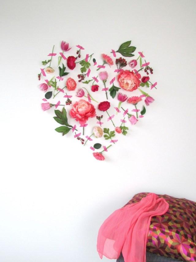 Τέχνη τοίχου με λουλούδια για την Ημέρα του Αγίου Βαλεντίνου10