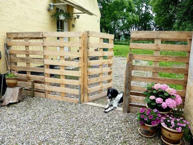 Ιδέες με Φράχτες από ξύλινες παλέτες2