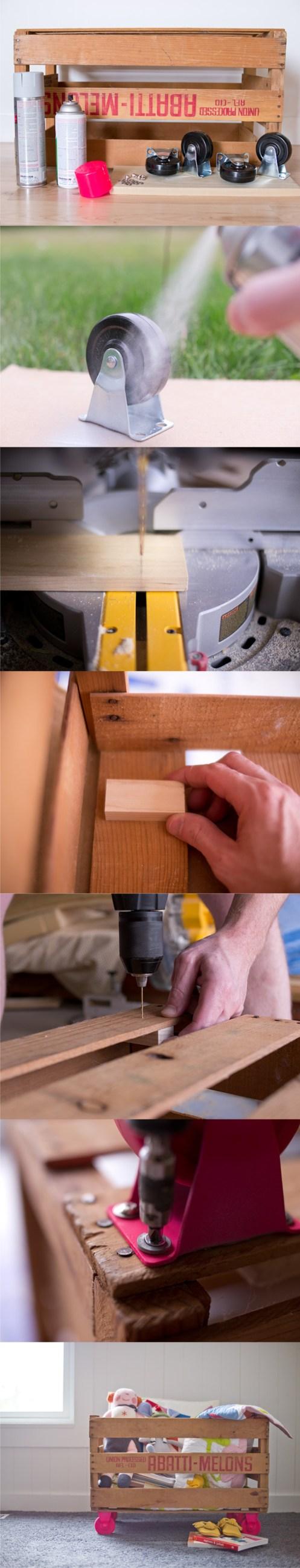 Diy μοντέρνο κουτί αποθήκευσης για το παιδικό από καφάσια1