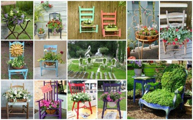 παλιές καρέκλες σε γλάστρες κήπου