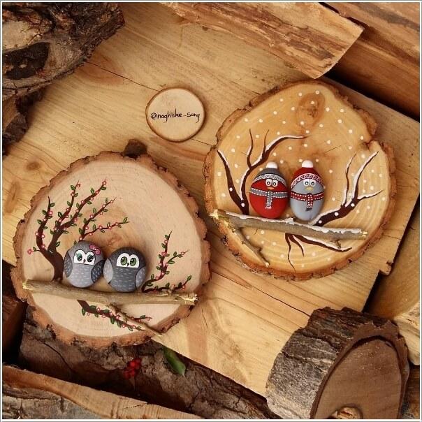 diy ιδέες διακόσμησης τοίχου με φέτες ξύλου1