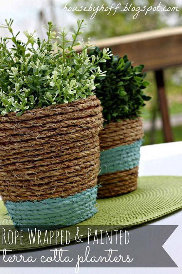 DIY γλάστρες από σχοινί14