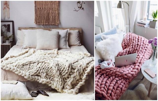 ιδέες διακόσμησης με κουβέρτες παχιάς πλέξης