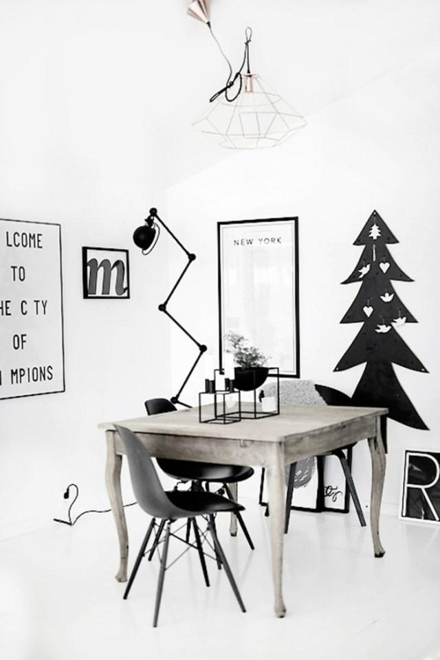 χριστουγεννιάτικη διακόσμηση σε άσπρο - μαύρο8
