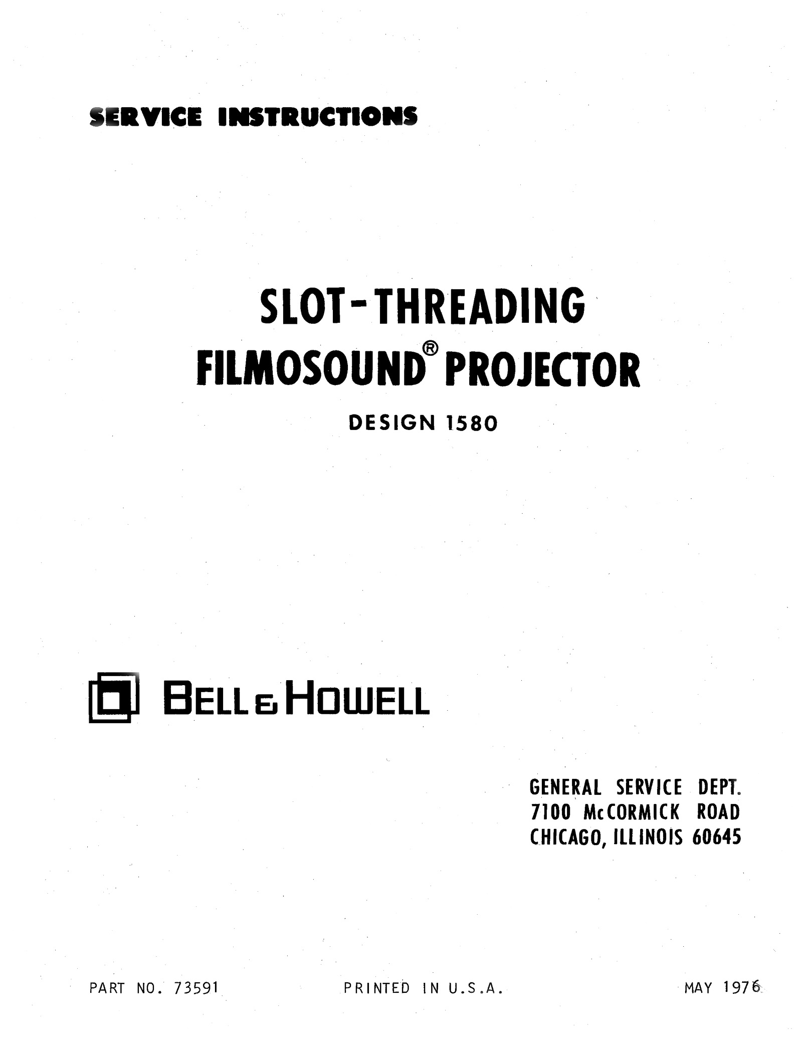 Bell & Howell 1580 Filmosound 16mm Service and Parts