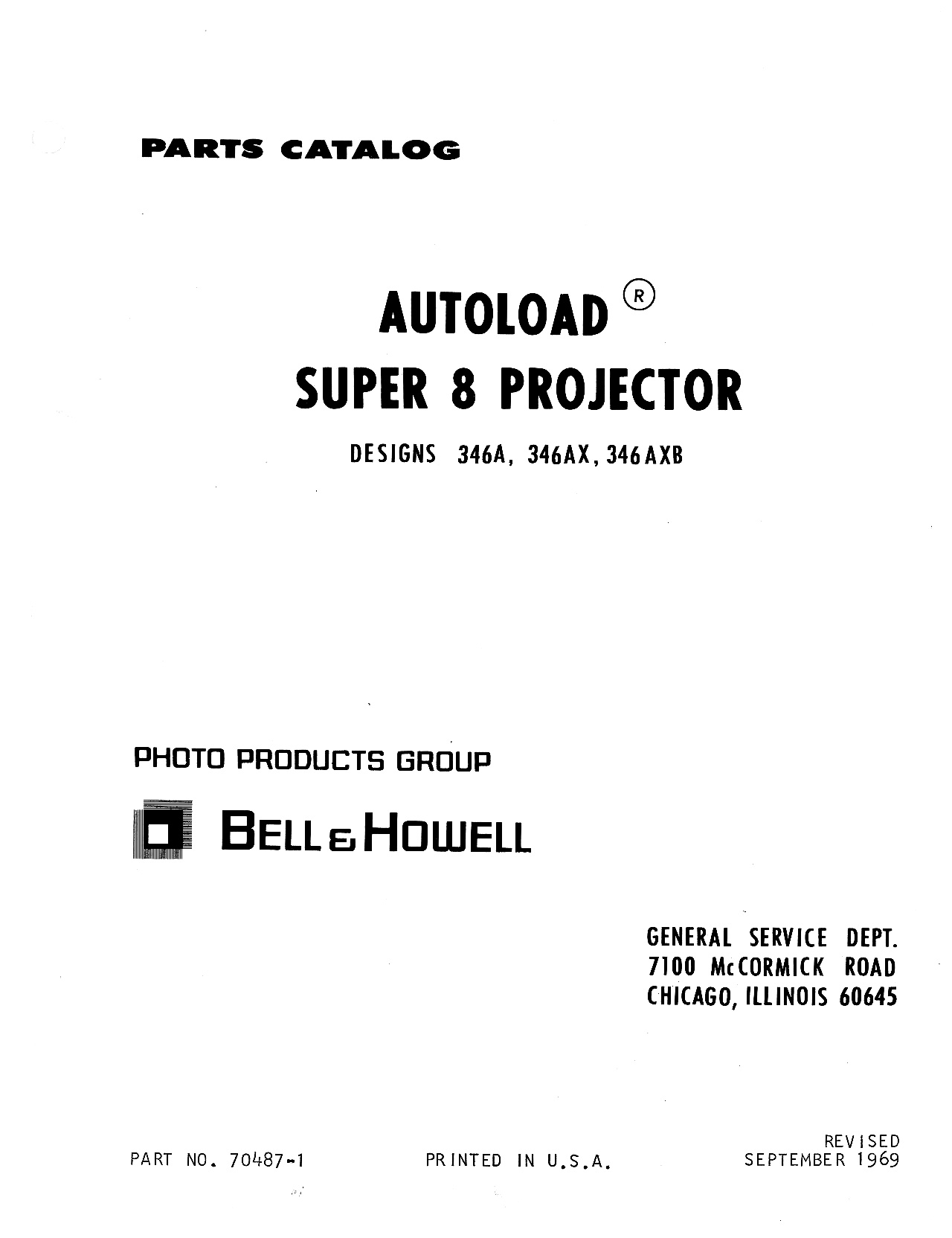 Bell & Howell 346 Autoload 8 Movie Projector Parts Manual