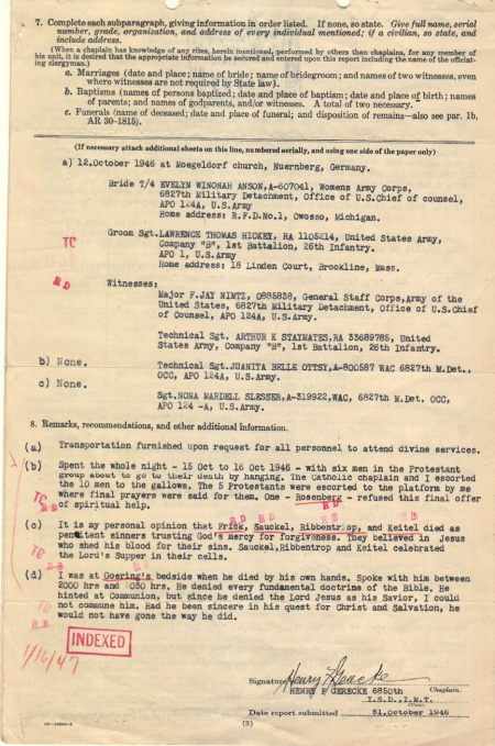Gerecke, Monthly Report. 10/31/1946