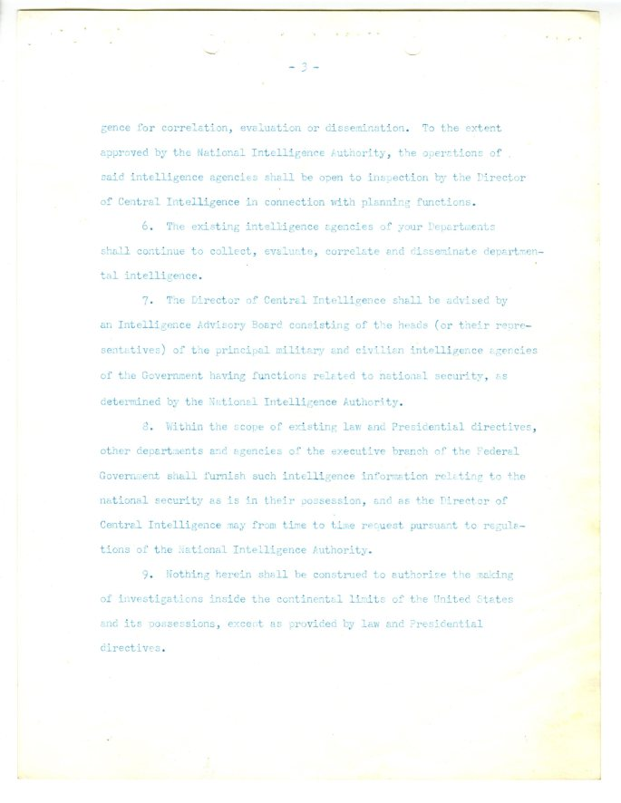 Directive establishing National Intelligence Authority and the Central Intelligence Group