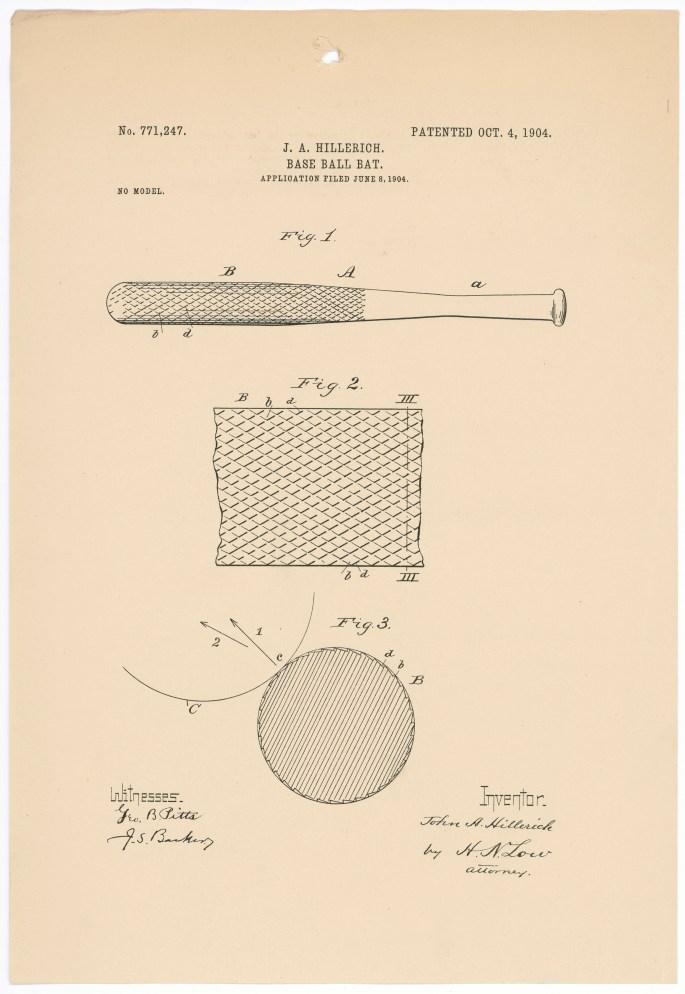 Design for a baseball bat (Patent 771247)