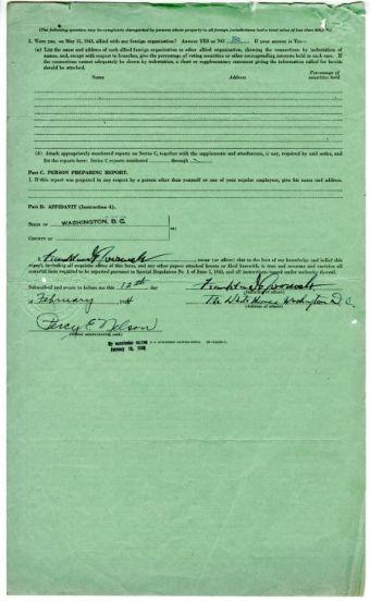 Form TFR-500 for President Franklin D. Roosevelt, Feb. 12, 1944, p.2