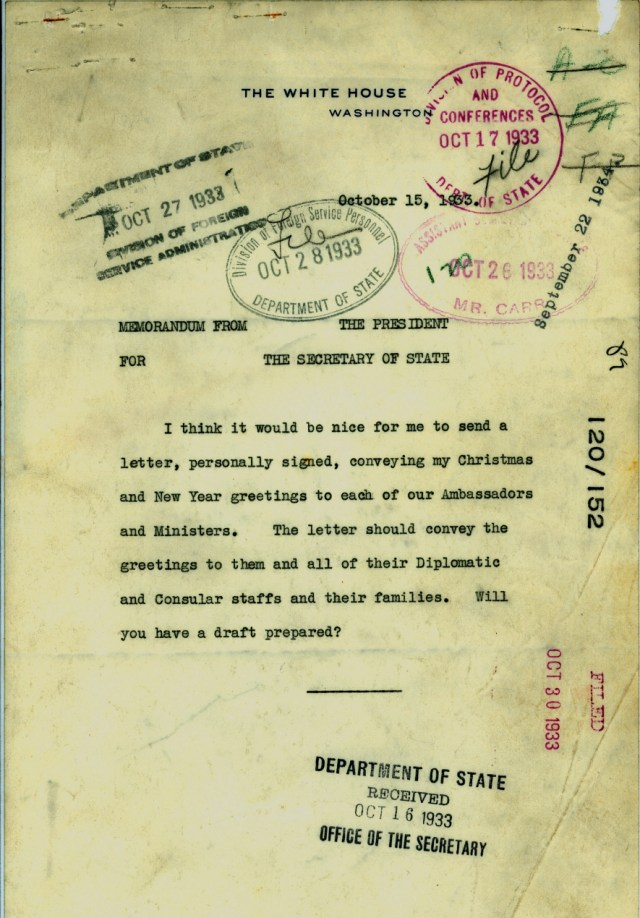 Memorandum from President Franklin Roosevelt