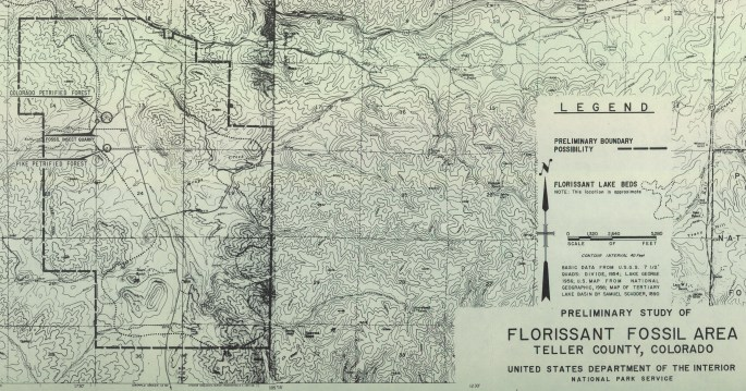 Close-up of topographical map also showing proposed park area with both petrified forest attractions marked