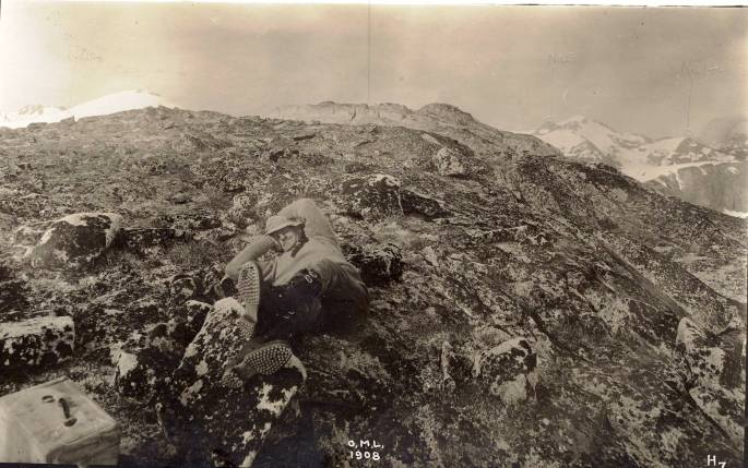 76-N-10863 Loafing on the Mountain - O.M. Leland Party, Coast Mountains of Alaska and Canada